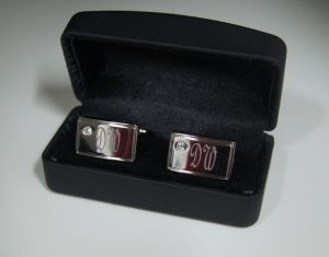 Diamante Cufflink Polished Set