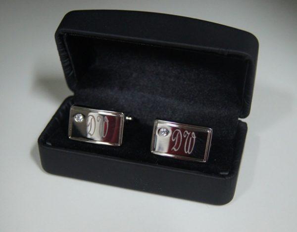 Diamante Cufflink Polished Set