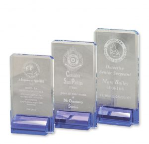 Crystal Award Blue Base Large 220mm