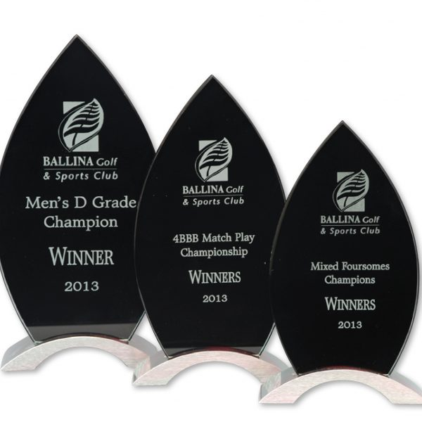 Glass Award Black Rocket- Large 250 x 120mm
