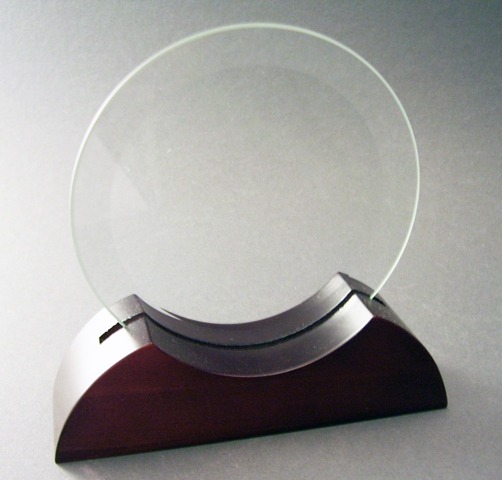 "Round bevelled glass in timber base 8"" = 200mm"