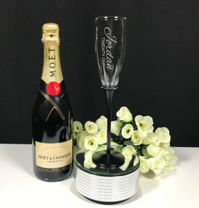 Black Stem Diamante Band Champagne Flute