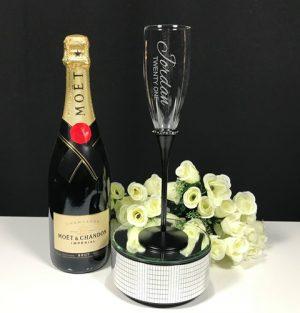 Black Stem Diamante Band Champagne Flute