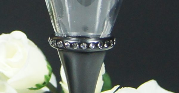 Black Stem Diamonte Band Champagne Flute