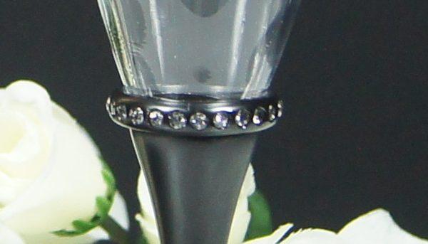 Black Stem Diamonte Band Champagne Flute