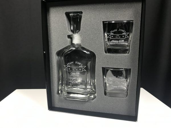 Decanter & Two Glass Set