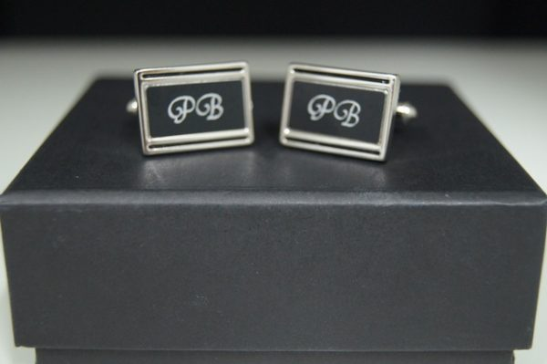 Silver & Black Cufflink Set