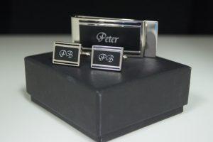 Black & Silver Cuff link Money Clip Set