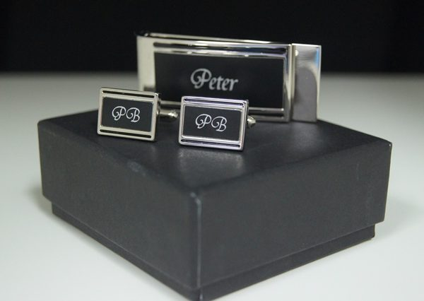 Black & Silver Cuff link Money Clip Set