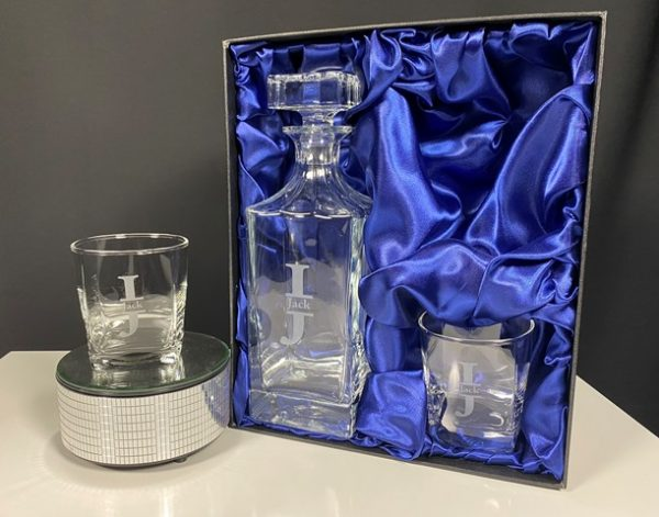 Whiskey Decanter & Two Glass Set